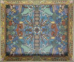 "Atlântico Palace, Oporto, 1950. Jorge Barradas, the interior of the porticoed gallery (photo: Ana Almeida) | Ana Almeida. ""Architecture, ceramics and frames. Three case studies in the work of Jorge Barradas,"" in ARTisON - AzLab#14 Azulejos and Frames. Proceedings. 2 (2016), p. 88-99. URL: http://artison.letras.ulisboa.pt/index.php/ao/article/view/38"