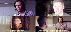 Hehe.. Supernatural Funny, Destiel, Wake Up, Pokemon, Fandoms, Guys, Sons, Fandom, Boys