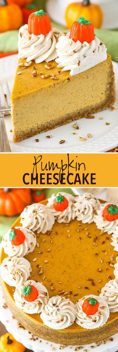 Pumpkin cheesecake - full of pumpkin and spices, thick and creamy, and a great dessert for fall and Thanksgiving! Pumpkin cheesecake - full of pumpkin and spices, thick and creamy, and a great dessert for fall and Thanksgiving! Köstliche Desserts, Great Desserts, Delicious Desserts, Dessert Recipes, Health Desserts, Salad Recipes, Cupcakes, Cupcake Cakes, Pumpkin Cheesecake Recipes