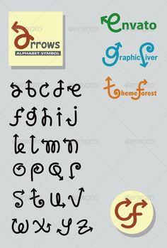 Arrows Alphabet Symbols  GraphicRiver Beautiful arrows font alphabet  drawing. Fully vectorized. Good use 8e853b5e09f