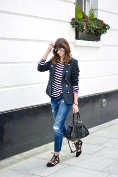 Navy blazer, bretton stripe t-shirt, ripped boyfriend jeans, lace up pointed flats, Balenciaga bag, mirrored sunglasses