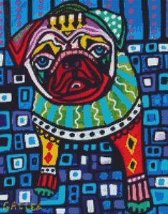 Cross Stitch Kit 'Pug Dog' By Heather Galler - Modern dog crossstitch