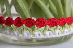 Tulpen randje om een brocante weckpot