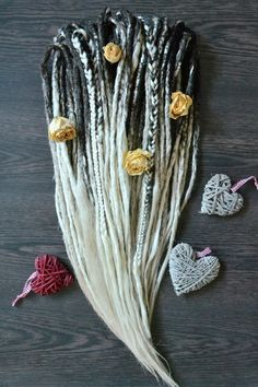 ombre dreadlocks full set x35 de-dreads (70 tailes), synthetic kanekalon dreadlocks, thin dreads, brown and white dreads, complete set by SunjunkDreadlocks on Etsy