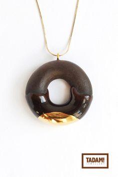 Sweet ceramic Mini Donut pendant in Dark Chocolate and Golden Glaze | TADAM Design