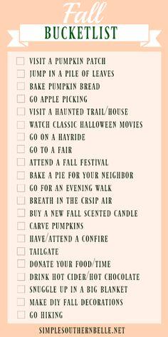 Fall Bucketlist Ideas!
