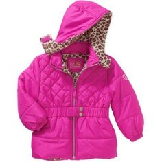 Pink Platinum Baby Toddler Girl Hooded Belted Puffer Jacket, Size: 4 Years