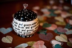 we created a wedding wish jar for guests to write notes of advice & inspiration. Thanks to Martha Stewart for the idea! :)