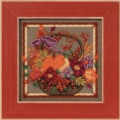 "MH143203 - Autumn Basket (2013) - Mill Hill - Buttons and Bead Kits - Autumn Series Kit Includes: Beads,ceramic button, perforated paper, floss, needles, chart and instructions.  6""x6""Mill Hill frame GBFRM13 sold separately Size: 5"" x 5"""