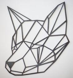 Steel Geometric Fox Wall Art by FactoryCustomFab on Etsy