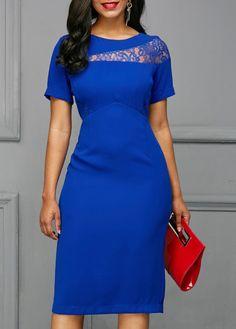 ce267b3d97e2 US  33.37 - Lace Panel Back Slit Royal Blue Dress Γυναικεία Φορέματα Της  Μόδας