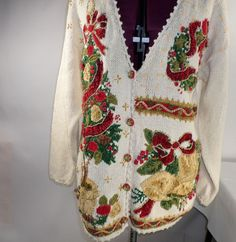 Tacky Ugly Pretty Christmas Sweater Medium Vintage original Tiara International #TiaraInternational #Cardigan