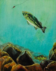 Underwater Predators Panel by Jeanne Fischer Underwater Predators Panel 1 of a Triptych features a bass about to strike a lure.  #bass #fishing