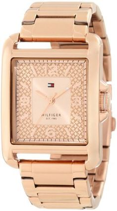Tommy Hilfiger Women's 1781196 Sport Tank Rose Gold Plated Stainless Steel Watch Tommy Hilfiger. $95.50. Durable mineral crystal protects watch from scratches,. Quartz movement. Rose gold toned dial with arabic numerals. Rose gold plated stainless steel case and bracelet. Water-resistant to 30 M (99 feet). Save 34% Off!