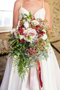 Our jewelry and gowns were featured on Dainty Obsessions today! Love the refined rustic feel? Love the new color of the year Marsala? Check it out! This bouquet is jaw dropping!