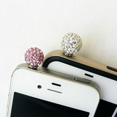 Bling Crystal Ball  PINK Cell Phone Anti Dust Plug by POPStation, $10.00
