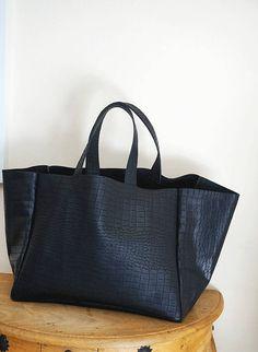 Large Black Leather Tote Bag/Black Leather Handbag/Black