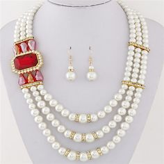 Square Gem Decorated Elegant Triple Layers Pearl Fashion Necklace and Earrings Set - Red