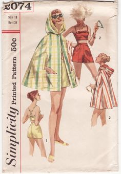 Vintage 1950s Sewing Pattern - Playsuit or Swimsuit Ensemble, Bra Top, Shorts, Hooded Cape Beach Cover Up - 1957 Simplicity 2074, Bust 38.