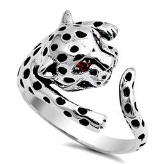 925 Sterling Silver CZ Simulated Garnet Tiger Cub 13MM Ring