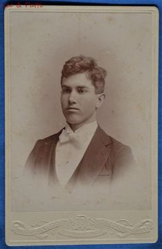 Cabinet Photo Young Man White Tie Mulligan Columbus Ohio 1890s Backstamp