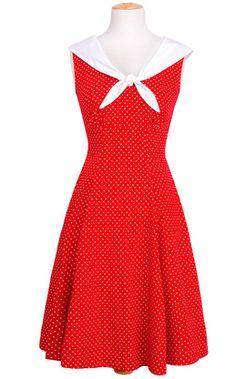 Sailor Dress - Red Polka Dot