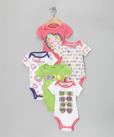This set features plenty of comfy, cool graphic bodysuits to fill a breezy little kid's wardrobe up with. With a cozy lap neck and snaps at the bottom, these convenient pieces will have cuties smiling throughout the week.    Includes five bodysuits60% cotton / 40% polyesterMachine wash; tumble dry