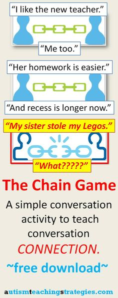 Download, print and cut out simple chain pictures to create this activity to help teach conversation coherence to children with Asperger's and other autism spectrum disorders. The blog post includes a youtube video demonstration. This was pinned by pinterest.com/joelshaul/ .  Follow all our boards.