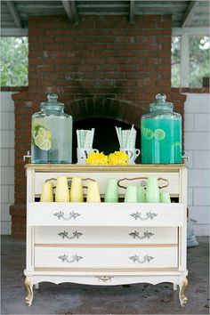 drink station ideas   mint and yellow wedding   backyard reception ideas   #weddingchicks