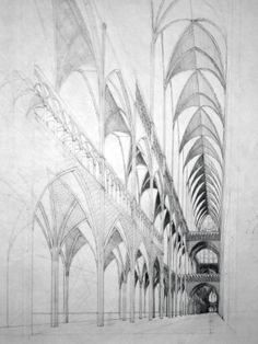 gorgeous cathedral perspective drawing