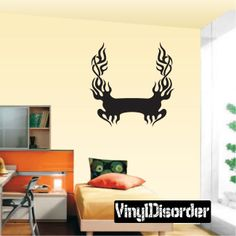 Tribal Flames Frame Wall Decal - Vinyl Decal - Car Decal - DC 015