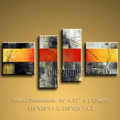 Hand-painted 4 Pieces Modern Abstract Painting Wall Art Interior Design. In Stock $139 from OilPaintingShops.com @Bo Yi Gallery/ ops9247