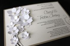 Friday's Find | Vancouver Wedding Invitations - Made by Michelle Mark. This week we got up close and personal with Vancouver wedding invitation designer Michelle Mark - We love all her hand cut and rolled 3D floral invitations, tiny pearl and rhinestones - Michelle is a master of detail. http://heirloommagazine.com/?p=3071