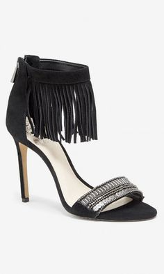 Black, suede fringe heels with metallic beading across the toe strap. By Vince Camuto.