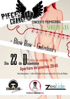 ¡NOCHE DE ROCK AL CUBO!  Gatedoors + Blow Row + Piece of Change  Concierto navideño de tres grupos de la escena rock de Madrid por 3€  Domingo 22 Diciembre - Sala Independance  +info: https://www.facebook.com/events/411504658983077/