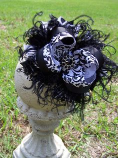 Over the Top Damask Bow Curly Ostrich Boutique Bow by darlindivas, $12.99