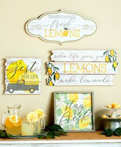 Farm Fresh Country Decor- Lemons, Zest & more! Lemon Kitchen Decor, Yellow Kitchen Decor, Kitchen Themes, Orange Kitchen, Country Decor, Farmhouse Decor, Country Farmhouse, Lemon Crafts, Retro