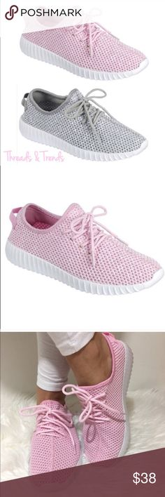 Fly Knit Mesh Sneakers An ultra-comfortable popular light weight Fly Knit mesh sneaker. These is made to offer breathability and unique styling. Sneakers that  stand out from the crowd. In colors pink and grey. Shoes Athletic Shoes