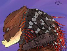 Berserker Predator Predator Alien, Aliens, Bad Art, Bioshock, Dark Horse, Art Sketches, Science Fiction, Horror, Nerd