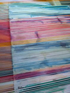 Painted warp stripes - such a brilliant way to play with colour palettes Painted Warp, Colour Palettes, Hand Weaving, Stripes, Mood, Play, Studio, Fabric, Painting