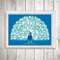 peacock fingerprint guest book  printable file by idoityourself, $20.00
