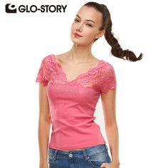 Find More T-Shirts Information about GLO STORY Band 2016 New High Quality Summer Women T shirt  Lace V neck Short Sleeve T Shirt Women Solid Tee Shirt  Femme Tops,High Quality shirt long sleeve men,China shirts for men style Suppliers, Cheap t-shirt sheets from GLO-STORY FASHION on Aliexpress.com