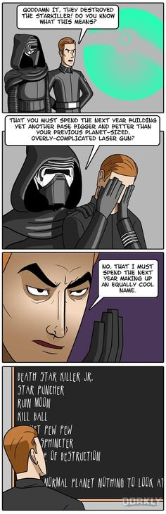 Julia Lepetit and Chloe Cole from Dorkly illustrate what might happen between Star Wars Episode VII and VIII. They really need to call it Planet Pew Pew. Star Wars Jokes, Star Wars Comics, Dorkly Comics, Dark Vader, Starwars, Pokemon, Episode Vii, Fanart, Death Star
