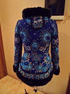 """Купить Зимнее пальто """"Признание"""". - цветочный, павловопосадский платок, дизайнерская одежда, зимняя одежда"""