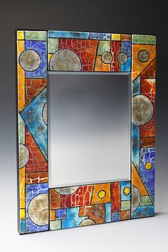 "16"" x 20"" Geometric Mirror with fused glass tiles by Nancy Cann"
