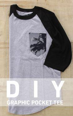 DIY graphic pocket tee. http://blog.swell.com/DIY-Graphic-Pocket-Tee