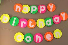 neon party. happy birthday banner