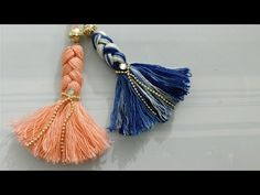 DIY Tutorial How to Make a Tassel - Tassels Tassle Tassles Borlas - Easy Simple Diy Tassel, Tassel Jewelry, Fabric Jewelry, Diy Jewelry, Tassel Garland, Diy Thread Earrings, Thread Jewellery, Diy Embroidery Thread, Embroidery Jewelry