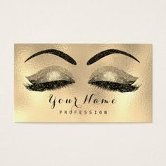Makeup Eyebrows Lashes Glitter Metallic Black Gold Business Card - stylist business cards cyo personalize businesscard diy