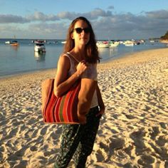 """Our friend @belin_audrey with the bag """"Cabas Aguayo"""" in Mauritius"""